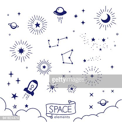 Vector illustration of hand drawn space elements : stock vector