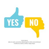 Vector illustration of hand voting with Yes and No in flat style suitable for website design and applications