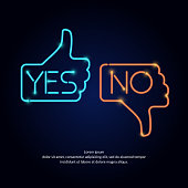 Vector illustration of hand voting with Yes and No in neon style suitable for website design and advertising