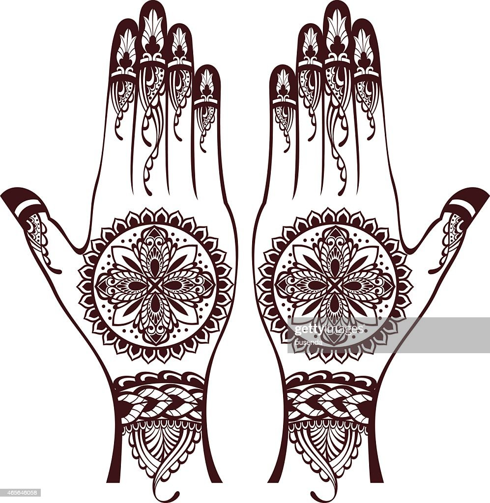 vector illustration of hands with henna tattoos vector art thinkstock rh thinkstockphotos com Henna Drawings Designs Adult Coloring Vector