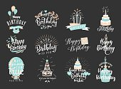 Vector illustration of Happy Birthday badge set. Design element for greeting cards, banner, print with lettering typography text sign, quote, cake, candle, gift, balloon isolated on dark background