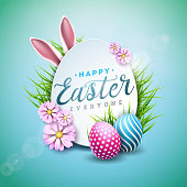 Vector Illustration of Happy Easter Holiday with Painted Egg, Rabbit Ears and Flower on Shiny Blue Background. International Celebration Design with Typography for Greeting Card, Party Invitation or P