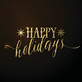 Vector illustration of Happy Holidays glitter gold lettering text. Holiday typography illustration luxury design with snowflake. Holidays quote emblem in golden style. Use as overlay, prints, t shirt