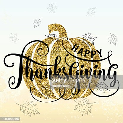 Vector illustration of Happy Thanksgiving Day, luxury gold design : Vector Art