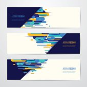 Vector illustration of horizontal geometry round, diagonal and line abstract banner set for modish graphic design