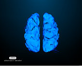 Fantastic abstract vector illustration of human brain. Smoky shape.
