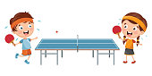 Vector Illustration Of Kids Playing Table Tennis
