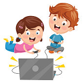Vector Illustration Of Kids Playing Video Game