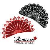 Flamenco design over white background, vector illustration.