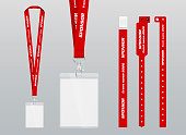 Vector illustration of lanyard and bracelets for identification and access to events. Security and control elements. Lanyards and bracelets with place for sponsor and name of the event.