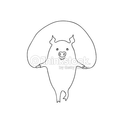 Vector Ilustración De Dibujos Animados Poco Cerdo Ejercicio ...