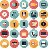 Modern flat icons vector illustration collection with long shadow design effect in stylish colors of  multimedia symbols, sound instruments, audio and video items and objects. Isolated on white backgr