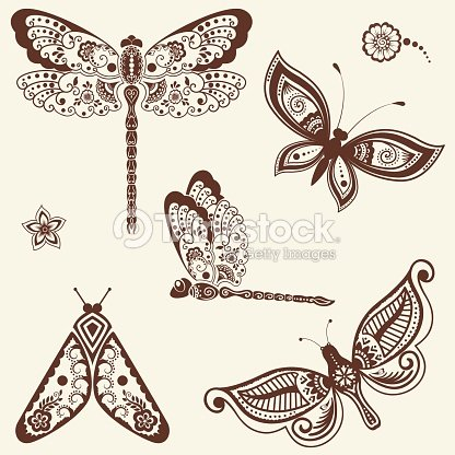 29641fde5a1c0 Vector illustration of mehndi ornament - butterflies, dragonflies.  Traditional indian style, ornamental floral elements for tattoo, mehndi and  yoga and ...