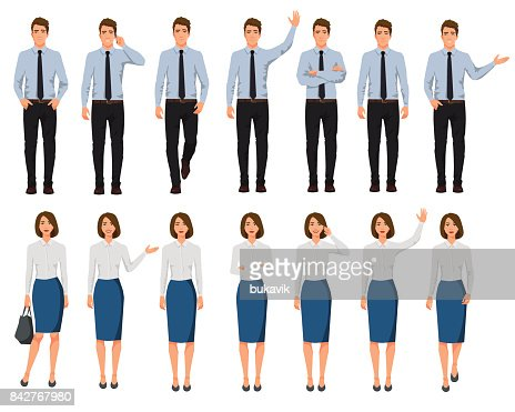 Vector illustration of men and women in official clothes. Cartoon realistic people set.Presentation pose.Worker with hand up. People with phone in one hand. Walking people. : stock vector