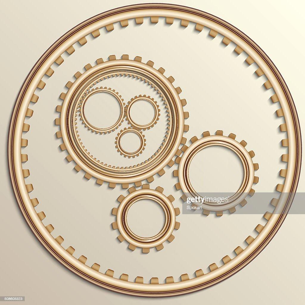 Ilustração vetorial de cobre rodas de engrenagem metálico : Arte vetorial