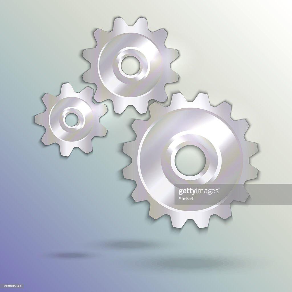 Ilustración vectorial de plata metálica cogwheels : Arte vectorial