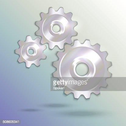 Ilustração vetorial de metallic silver cogwheels : Arte vetorial