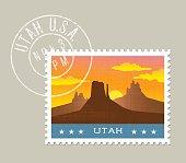 Utah postage stamp design. Vector illustration of monument valley at sunset. Grunge postmark on separate layer