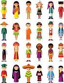 Set of international people in traditional costumes around the world