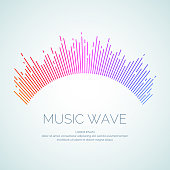 Vector illustration of music wave in the form of the equalizer on white background