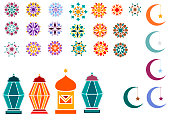 Vector illustration of objects for the Ramadan Kareem holiday for banner, postcard with Islamic geometric patterns, moon, star, frame, flashlights.