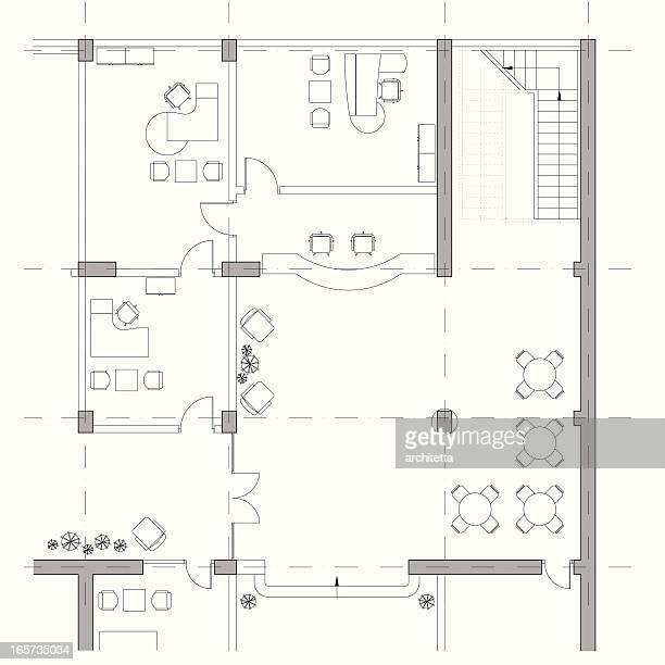 Vector illustration of office architectural plan
