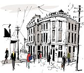Pen and ink sketch of street scene showing old buildings in France with pedestrians.