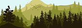 Vector illustration of panorama of silhouette of mountains and forest. Detailed alpine fir background.