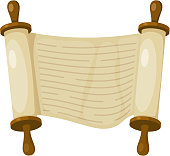 Vector illustration of papyrus on a white background. Scroll paper. Cartoon image of the 'nTorah in the unfolded state.