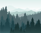 Vector illustration of pine forest and mountains vector background. Coniferous forest, fir silhouette and mountains in fog landscape