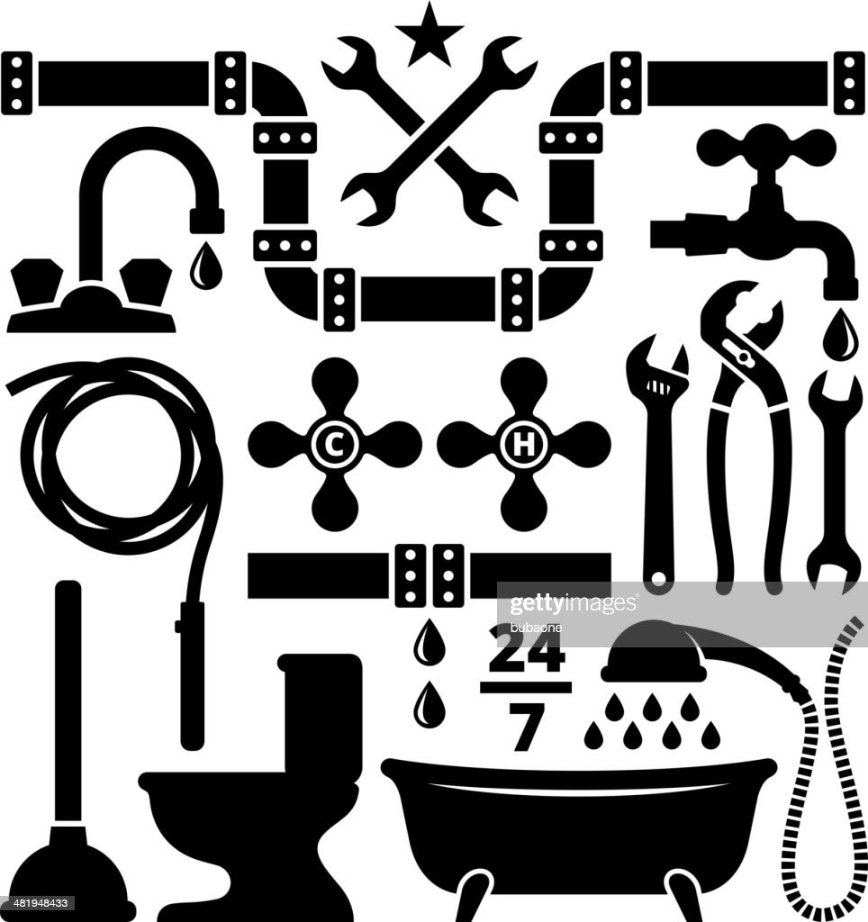 Plumber and plumbing tools black white icon set vector art for Bathroom drawing tool