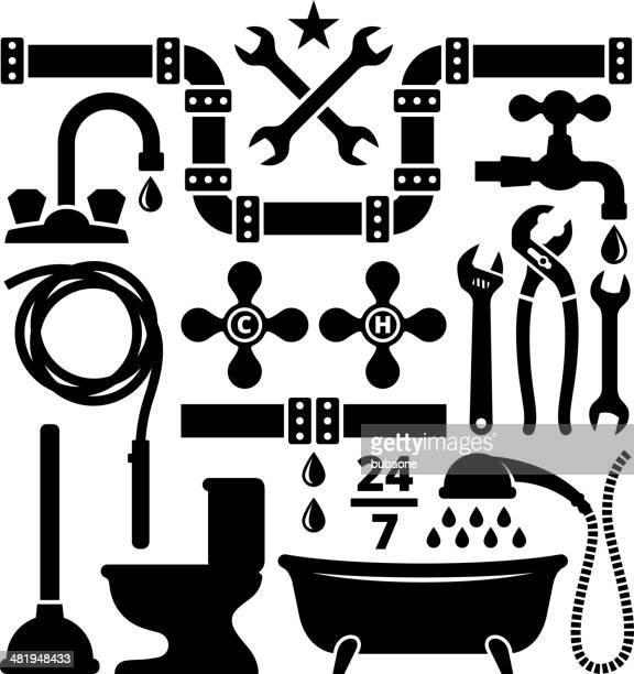 Vector illustration of plumbing design elements