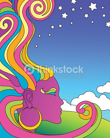 Vector Illustration Of Psychedelic 1960s Pop Art Poster Template