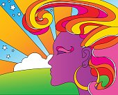 vector illustration of psychedelic 1960's pop art woman for posers, t-shirts, cards.