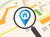 House icon as map pin concept. Map pointer design for real estate.