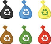 Different Coloured recycle trash bin bag icons - Environmental protection, conservation and recycling