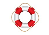 Vector illustration of red and white lifebuoy isolated on white