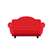 flat illustration of chic red sofa isolated on white background