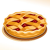 Vector illustration of Rhubarb Pie, homemade fresh confectionery with fruit filling on dish isolated on white background, traditional rustic pie dessert with lattice of dough for thanksgiving holiday.