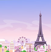 Vector illustration of romantic Paris view, France city skyline background in pastel colors, beautiful city in flat style