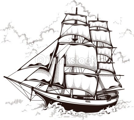 Vector Illustration Of Sailing Ship Vector Art | Thinkstock