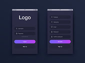 Vector Illustration of screens and web concept. Interface UX, UI GUI screen template for web site banners. Sign up
