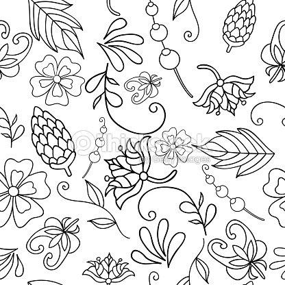 Ilustración De Vector De Patrones Sin Fisuras Con Flores Abstractas ...