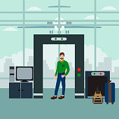 Vector illustration of security  scanning passenger with metal detector. Airport terminal, security checkpoint concept design element.