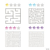 vector illustration of set of 4 square mazes for kids at different levels of complexity
