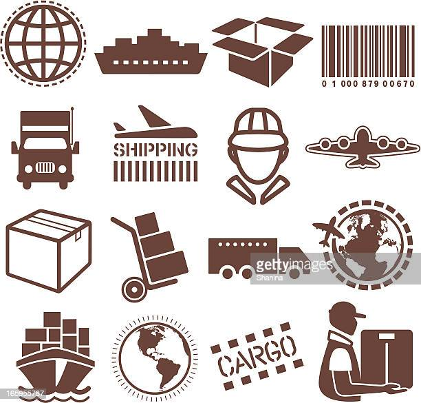 Vector illustration of shipping and cargo icons