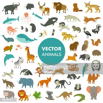 Vector Illustration of Simple Cartoon Animal Icons. : Arte vetorial