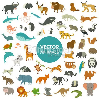 Vector Illustration of Simple Cartoon Animal Icons. : stock vector