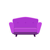 Vector flat illustration of colored small sofa isolated on white background