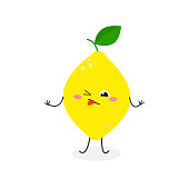 Funny cartoon lemon making a sour facial expression. Vector flat illustration isolated on white background
